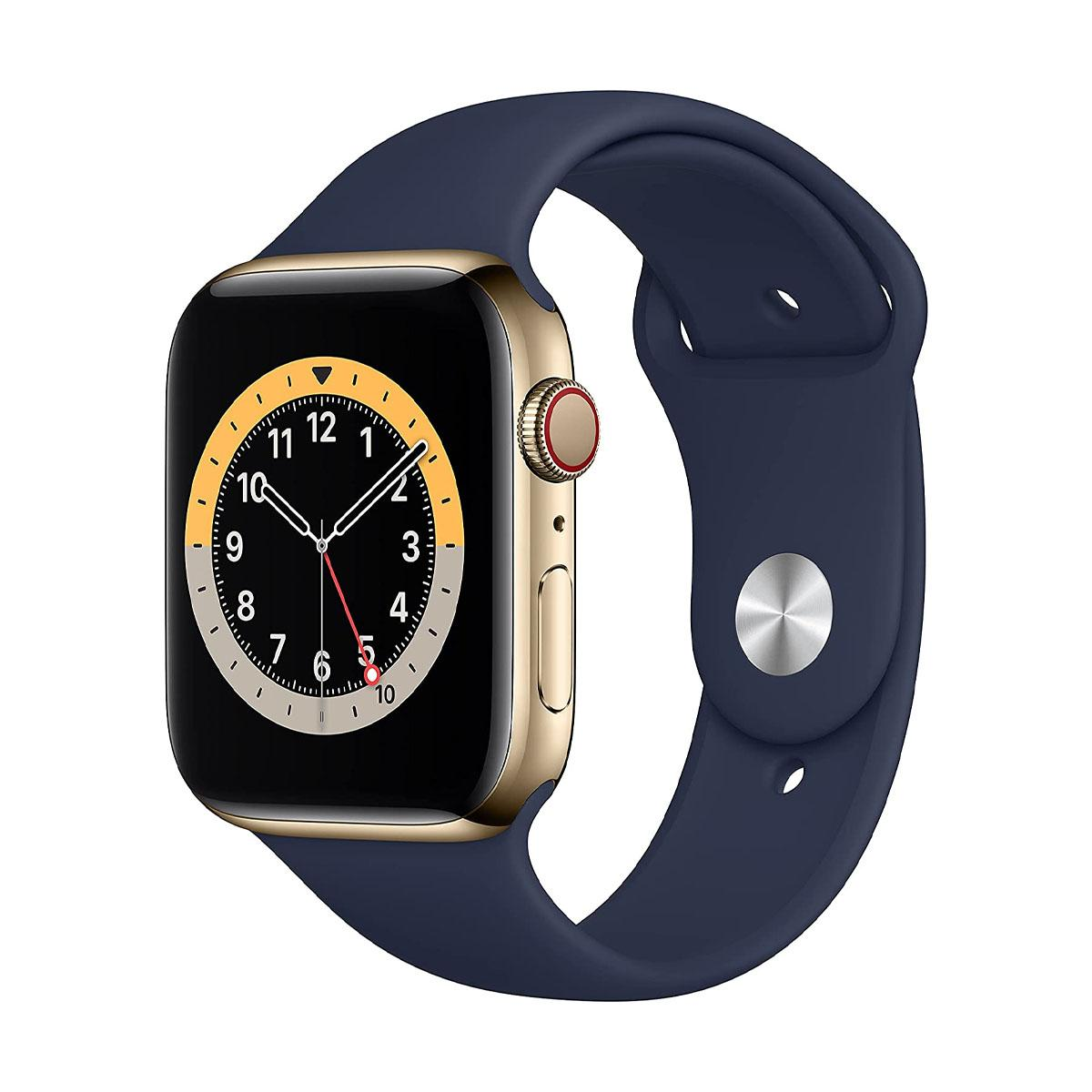 Apple Watch Series 6 GPS + Cellular, 44mm Gold SSL Case with Deep Navy Sport Band