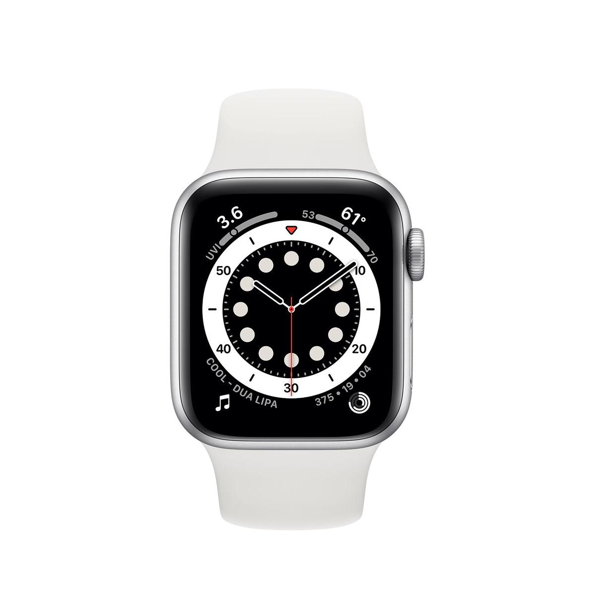Apple Watch Series 6 GPS 44mm Silver Sports Band - White