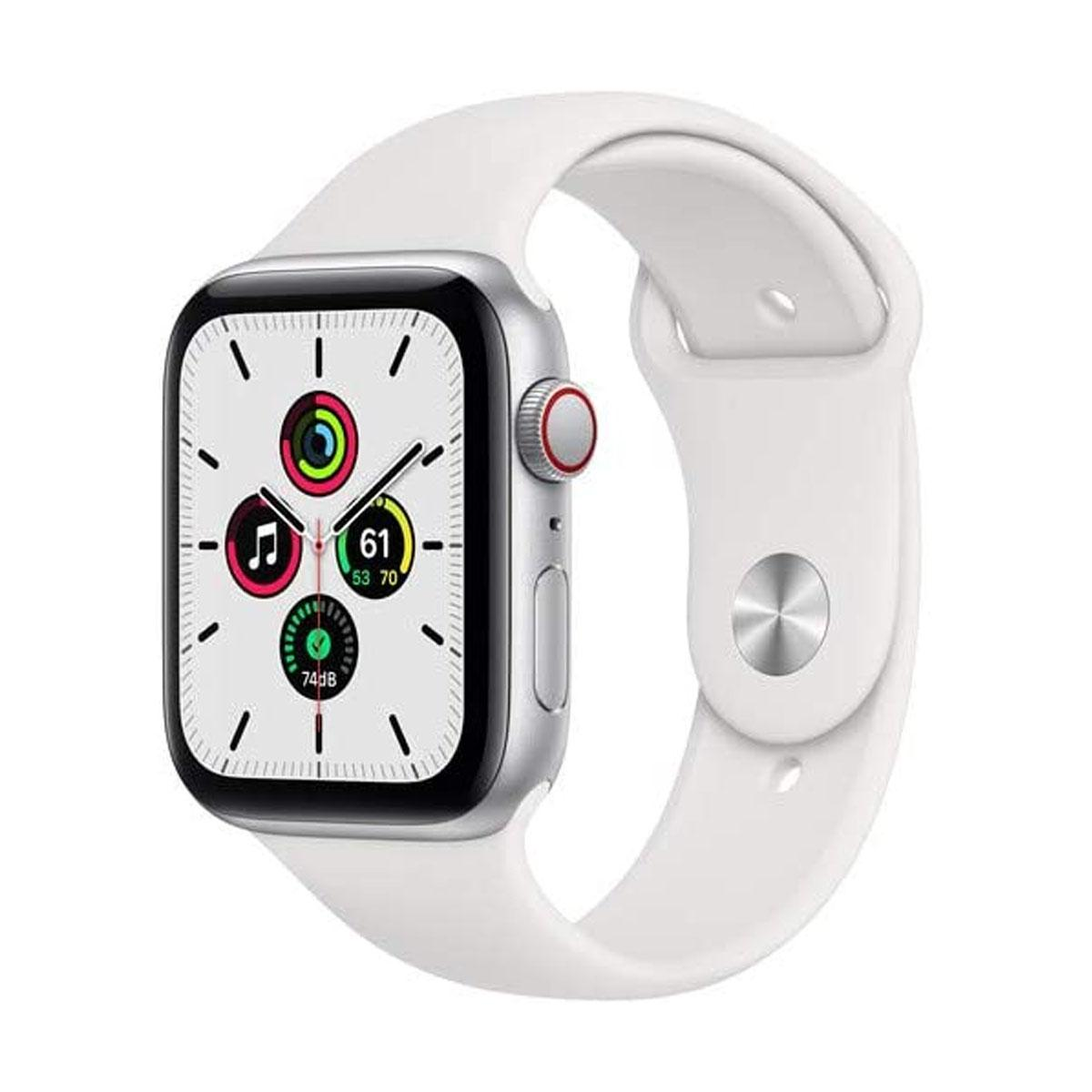 Apple Watch SE (GPS + Cellular 44mm with White Sport Band) - Silver