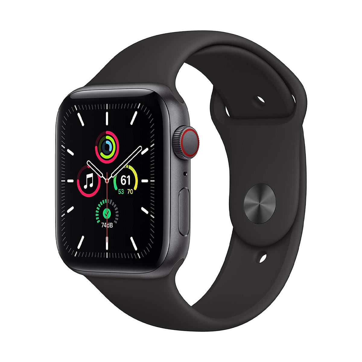 Apple Watch SE GPS + Cellular, 44mm Space Gray with Black Sport Band