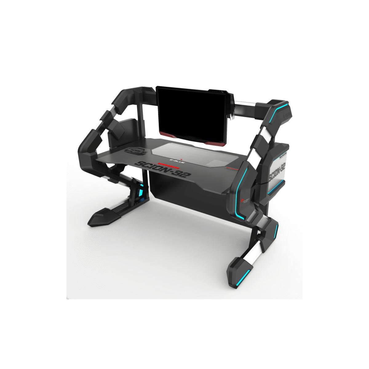 E-Blue 2 in 1 RGB Gaming Desk with Gaming Fence - Black