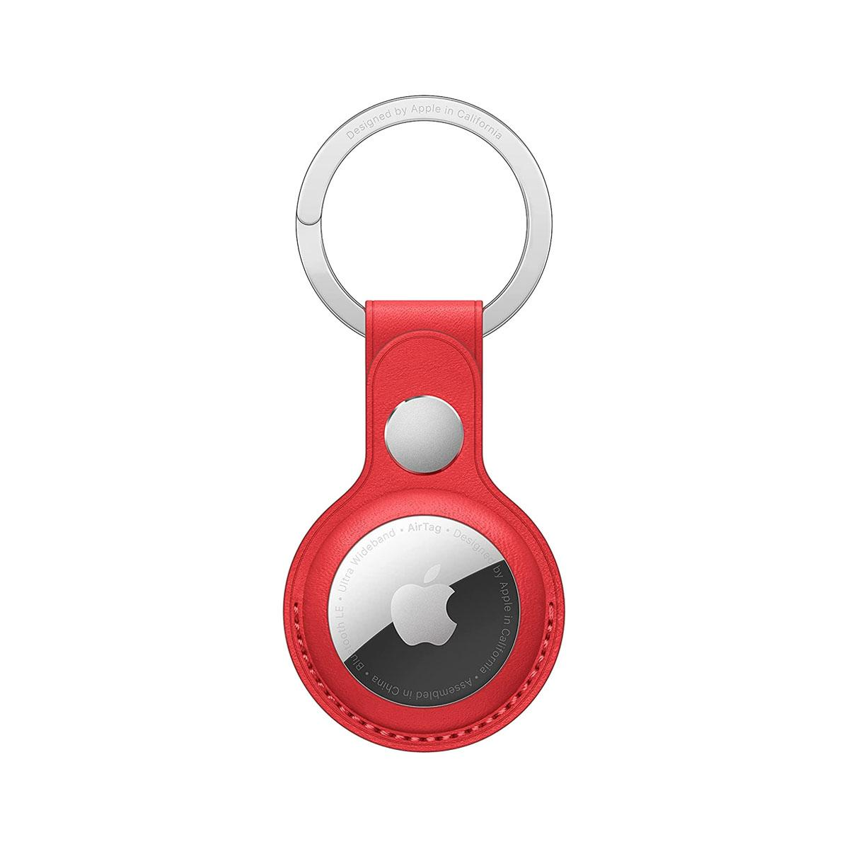 AirTag Leather Key Ring - RED