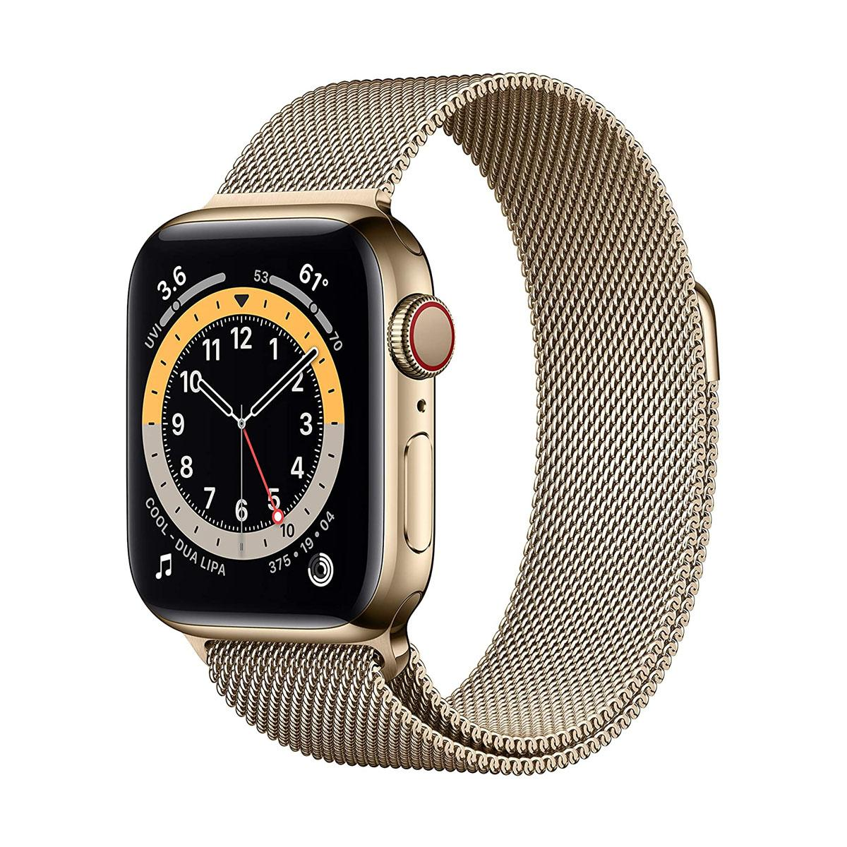 Apple Watch Series 6 (GPS + Cellular 44mm Stainless Steel Case with Gold Milanese Loop) Gold