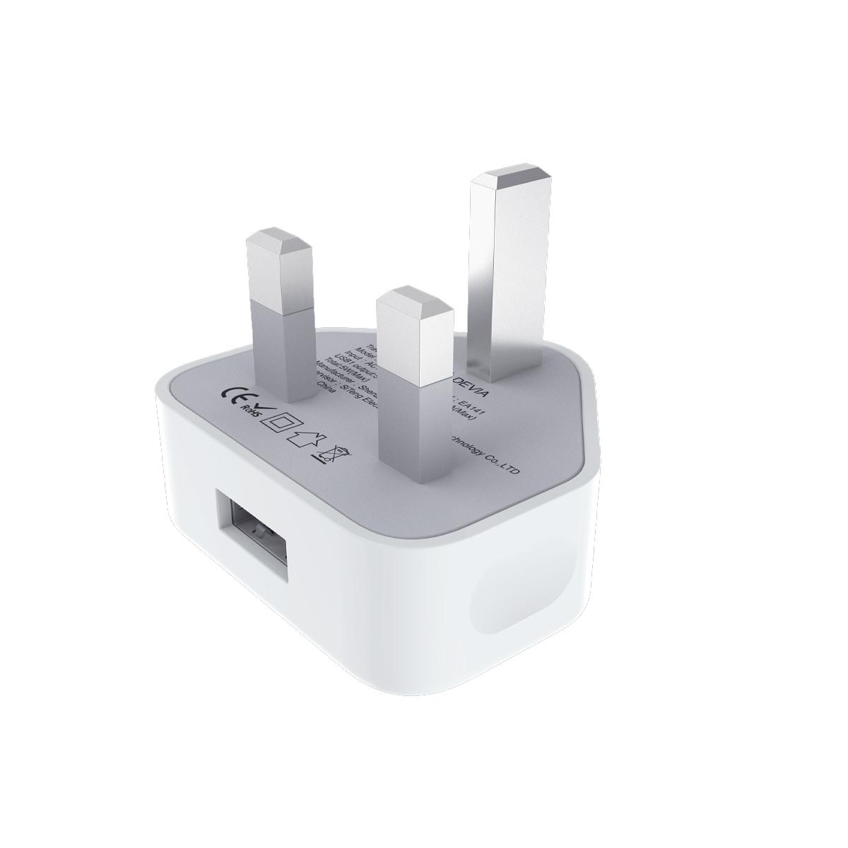 Devia USB Charger Plug 2.1A with Lightning Cable - White